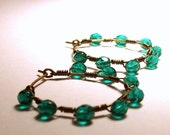 Dark Teal Green Wire Wrapped Halo Style Hoop Earrings in Antique Brass