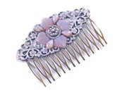 Filigree Hair Comb Vintage Glass Opal Button Crystal OOAK Shabby Chic Victorian Pastel Pink Blue Lilac Lavender Wedding Bride