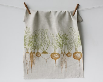 Linen Tea Towel - Root Vegetables