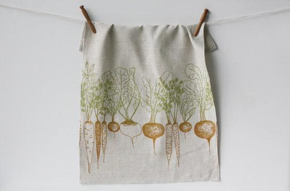 Linen Tea Towel - Root Vegetables