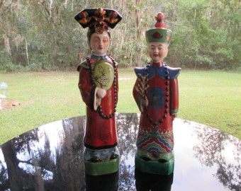 vintage oriental figurines  /  2 figurines  just reduced was 50.00 now 40.00