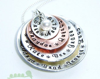 SALES - Handstamped grandma  necklace - birthstone jewelry - personalized charm 9 names in domed discs