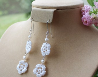 DISPLAY ITEM SALE. Small bloom, double flower, long crochet dangle earrings, with pearl.