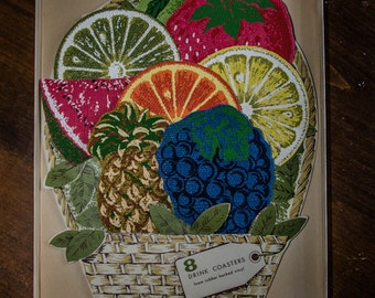 Vintage 70s Stotter Settings Fruit Shaped Drink Coasters