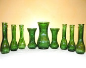 Emerald Green Flower Vases. 9 Large Vintage Forest Green Glass Ribbed Vases