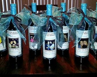 Wedding Bridesmaid Photo Wine Labels - Damask - Personalized Bridesmaid Gifts