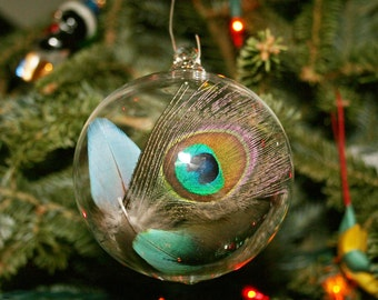 Christmas Ornament Handblown Glass Feather Ornament