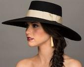 "Gaucho Hat. 5"" Wide Brim Black Hat. Bolero Hat. Spanish Style Hat. Black and Ivory. Vintage Grosgrain Ribbon Millinery Trims."