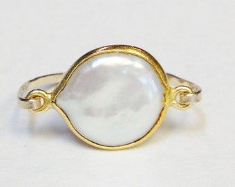 Pearl Ring   14K Gold Filled Ring   Pearl Jewelry  June Birthday   June Birthstone  Pearl Bezel Ring