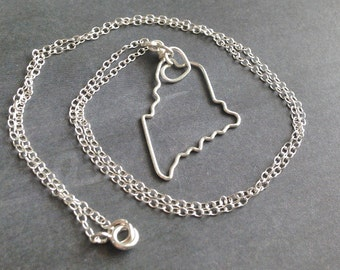 State necklace etsy maine necklace maine state necklace home state pendant personalized gift state of aloadofball Images