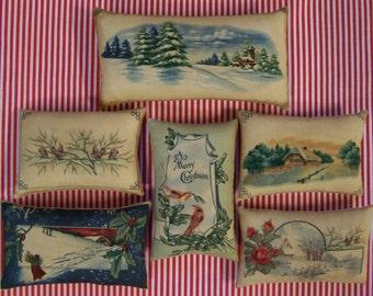 Set of 6 Primitive Folk Art Christmas Postcards Bowl Filler Ornies Tucks