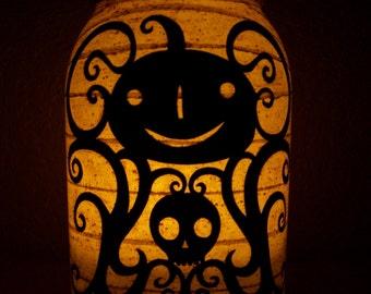 Grungy Primitive Halloween Scroll Pumpkin Lantern Candle Holder Light Luminary Decoration Centerpiece Mantel Porch Camping Gift
