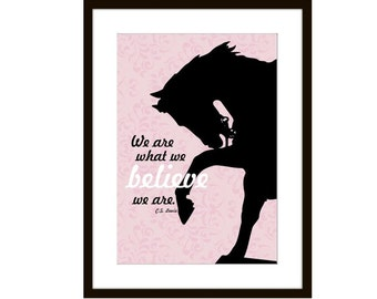 Horse Silhouette Art Print Pink Damask Background Motivational Quote