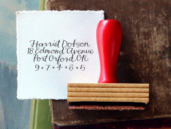 Calligraphy Return Address Stamp // Custom // BRIGHT