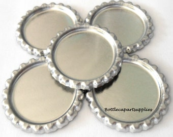 No LIners 50   FLATTENED  Shiny Silver Chrome Bottle Caps Lot   LInerless Crown Caps