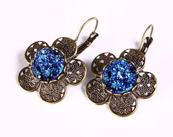 Flat rate shipping earrings - Antique brass flower turquoise blue and green faux dusy leverback dangle earrings - Faux druzy earrings (811)