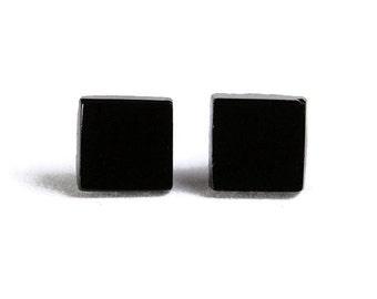 Flat rate shipping earrings - Petite black square hypoallergenic stud earrings - Geometric Jewelry (604)