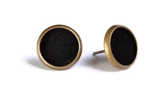Black velvet hypoallergenic stud earrings (490) - Flat rate shipping