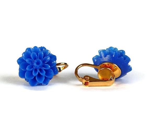 Cobalt blue chrysanthemum flower gold plated clip on earrings READY to ship (341) - Flat rate shipping