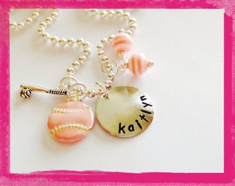 Hand Stamped Personalized SOFTBALL Charm Necklace for Girls -Custom Jewelry #S54