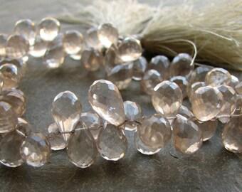 Champagne Khaki Mystic Quartz Faceted Teardrops. Full strand of beads 9-10mm (11w31)