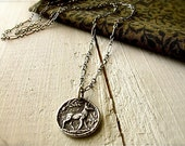 silver deer necklace : woodland nature jewelry, handcrafted rustic pendant, sterling silver chain