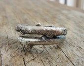 Large Twig Ring, Mens Jewelry heavy Sterling Silver, Rustic Twig, Sand Cast Ring For Men