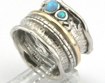 Opal Silver Ring, Opal silver Band, 925 Sterling Silver and 9K Yellow Gold Opal band size 7, Blue Opal, Wedding, October Birhstone (s r1306