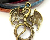 10 pc  Dragon pendants antique bronze winged dragon charms 35mm x 28mm nickle safe K063