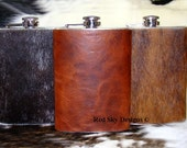 Red Sky Flasks  --  8 oz Stainless Steel Flasks Covered with  Whiskey or Black  Bison or Cowhide - Groomsmen, Hunter