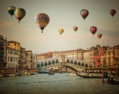 Hot Air Balloons Photo Venice Photography Rialto Bridge Grand Canal Italy Photograph Netural Colors Beige ven66