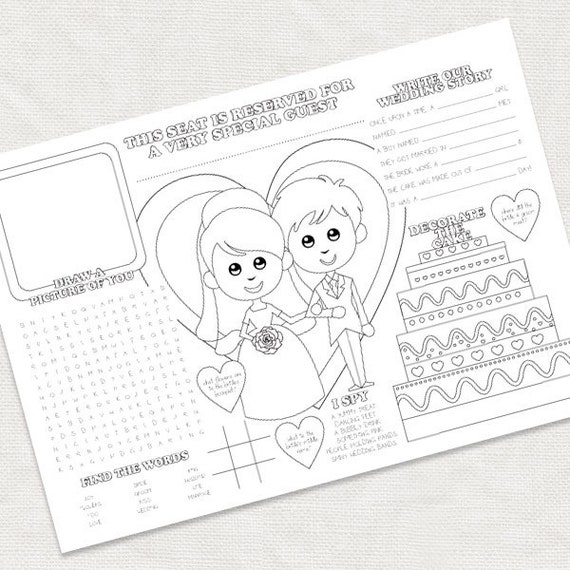 printable kids wedding activity placemat childrens reception coloring ...