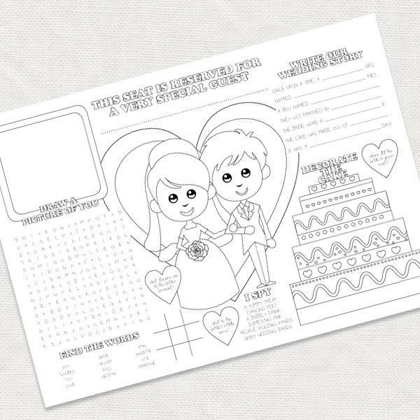 Printable Kids Wedding Activity Placemat Childrens Reception