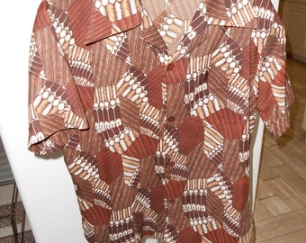Men's S/S Brown/White Abstract, Button-Up, Disco Shirt - Size M-L