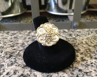 White and Gold Button Ring
