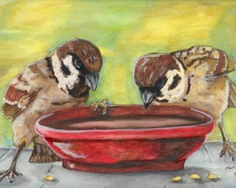 "Original Watercolor ""Two Birds and a Bowl""  Fine Art Print"