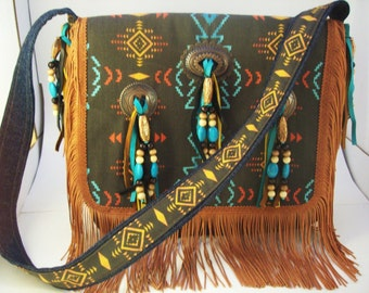 The Electronic Old West  Bag ( Bronze conchos, leather, fringe, beads )