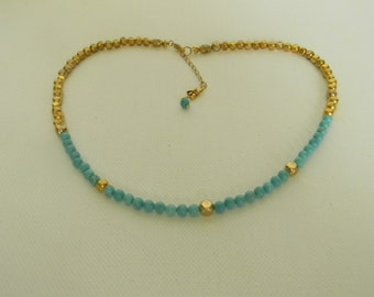 Handcrafted Turquoise And Gold Tone Choker-Beaded Gemstone Necklace-Blue And Gold Choker For Her-Beach Wear Bridal Wear Adjustable Choker
