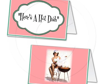 Printable digital custom pinup tent card