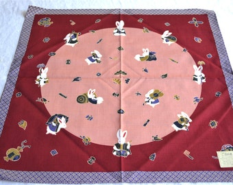 Vintage Tablecloth and Napkins - Japanese Bunny Moon Linens Set