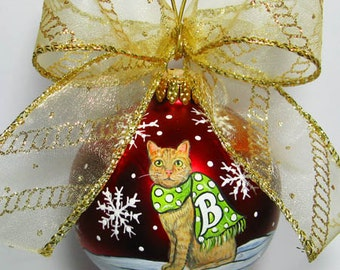 Christmas CAT / DOG  Ornament - Let it Snow Design - 1 cat or 1 dog