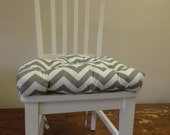 Set of 2, 4, 6, 8 tufted chair pads, seat cushions, bar stool cushions, grey and white chevron zig zag
