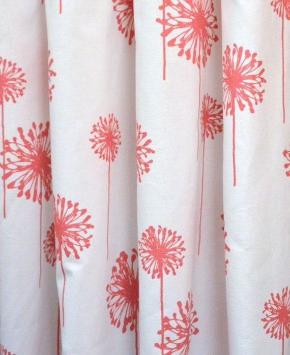 fabric shower curtain dandelion white coral by kirtamdesigns
