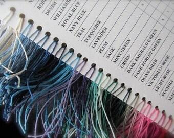 Waxed Irish Linen Chart and 5 yards, Chart plus Linen, Linen Color Chart, Waxed Linen Color Chart, Linen Cord,