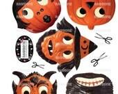 Digital Download Vintage Halloween Garland, funny German die-cut reproductions, 2D vintage Halloween decor