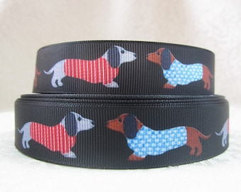 "1 yard - 22mm (7/8"") wide Black Grosgrain Ribbon/Dachshund Wiener Sausage Dog Red/Blue Coat"