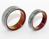 wedding rings, titanium rings, wood rings, mens rings, Titanium Wedding Bands, Eco-Friendly Wedding Rings, concrete Rings - RED EARTH