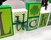 Lucky - St. Patricks Day Decor - Wood Blocks Ready to ship, make a great Teacher Gift!