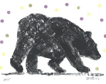 Original Bear Art in Black and white with purple, olive and lime green dots, geometric circles, hand pulled  original ink mono print.