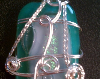 Aqua green fused glass wire wrapped pendant by Bohemian Art Cafe